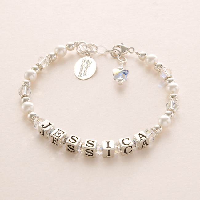 personalised bridesmaids and flower bracelets